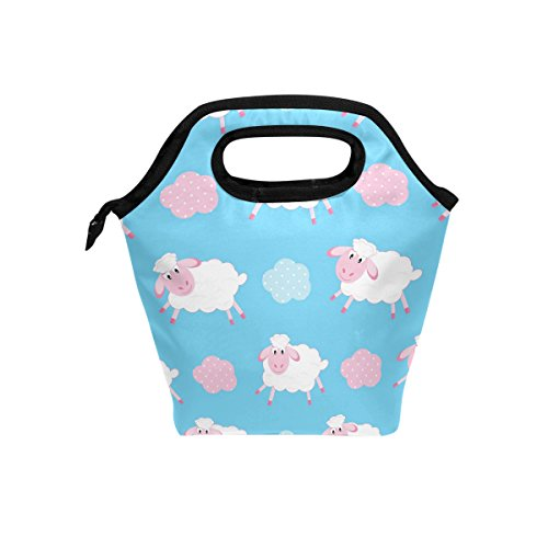 FORMRS Durable Insulated Lunch Box Tote Reusable Cooler Bag Lambskin Children Organizer Portable Reusable Lunch Tote (Bag Lambskin Medium Tote)