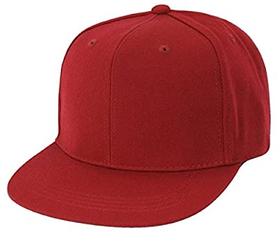 Solid Color Retro Flat Bill Snapback Baseball Cap (One Size, Cardinal)