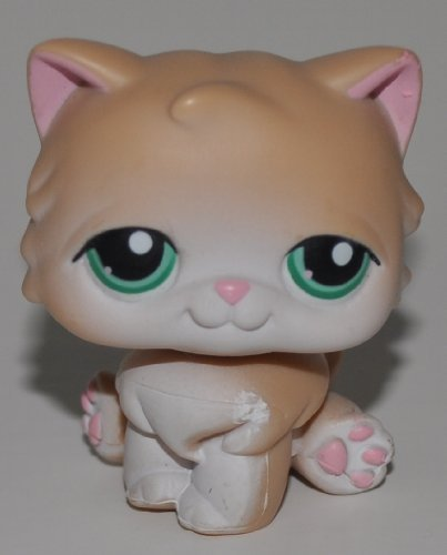 Persian #129 (Cream, Green Eyes, White paint on face) - Littlest Pet Shop (Retired) Collector Toy - LPS Collectible Replacement Figure - Loose (OOP Out of Package & Print)