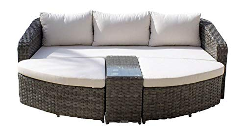 Hospitality Rattan 890-1516-GRY-4PC/SU-751 Ultra 4 PC Daybed Set with Cushions, Sunbrella Milano Cobalt