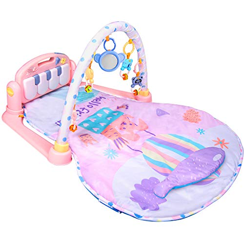 Large Baby Play Mat BATTOP Kick and Play Piano Gym - 5 Toys and Musical Activity Baby Gym for 0-36 Month Boys and Girls ()