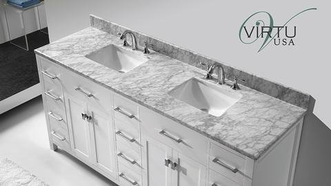 Virtu Usa Md 2172 Wmsq Wh Caroline Parkway 72 Inch Bathroom Vanity With Double Square Sinks In White And Italian Carrera White Marble
