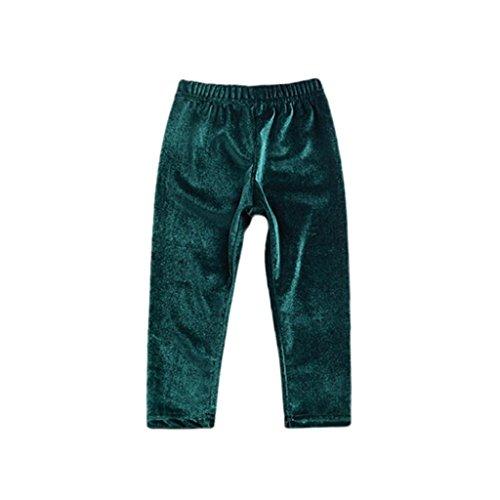 AliveGOT Newborn Kids Trousers Baby Girls Boys Solid Warm Velour Leggings Pants (Green, 18 Months) (Green Velour Pants)