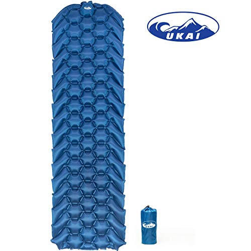 Ukai Outdoors FeatherRest Sleeping Pad - New Ultralight, Compact Mat with Large Air Cells for Comfort and Support - Inflatable Camp Mattress Great for Camping, Traveling, Hiking and Backpacking