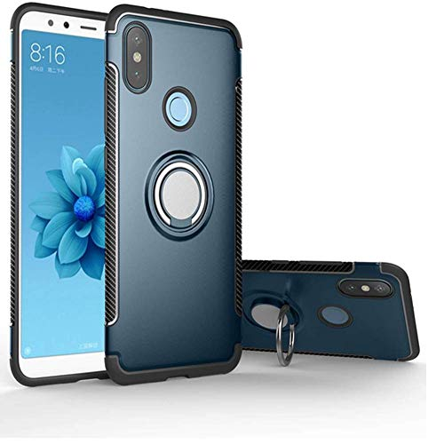 - Xiaomi Mi A2 Case/Xiaomi 6X Case TPU + PC Hybrid Dual Layer Shockproof Case Full Protection Body Heavy Duty 360 Rotating Metal Ring Kickstand Protective case (Blue)