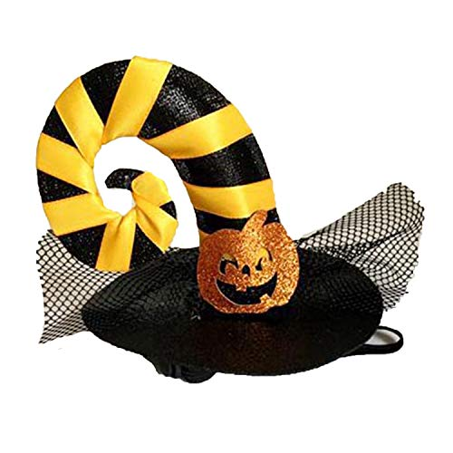 Funny Cute Pet Costume Cosplay Spider Pumpkin Witch Cap Hat for Cat Kitten Halloween Xmas Fancy Dress,YW,M