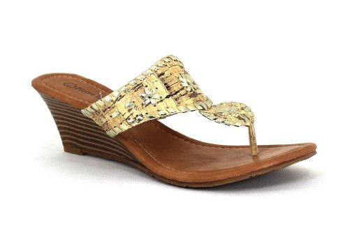 Pierra Dumas Women's Natasha Cork Gold Synthetic Sandals 9 B(M) US ()