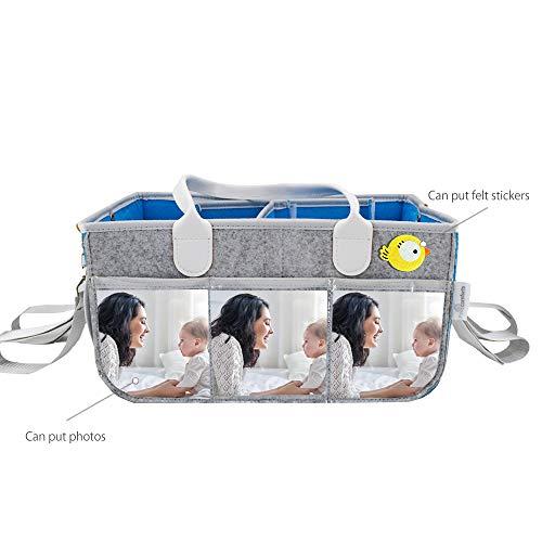 Baby Caddy Diaper Gift Basket Portable Organizer Car Travel Nursery Storage Tote Bag Baby Shower Gray