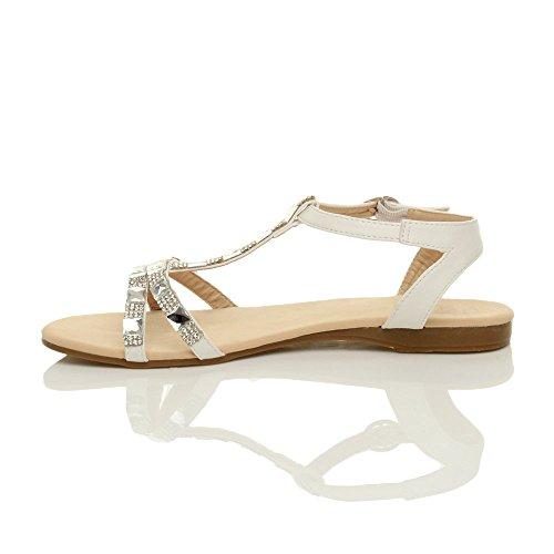 Strass Alla Bianco Caviglia Cinturino Piatto Donna bar Gladiatore Sandali T Numero 1FWqtF4nw
