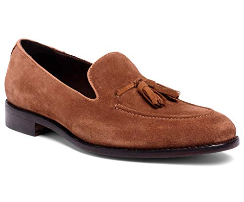 Anthony Veer Men's Kennedy Tassel Loafer Leather Shoe with Side Lacing in Goodyear Welted Construction (11 D(M) US, Honey Brown Calfskin ()