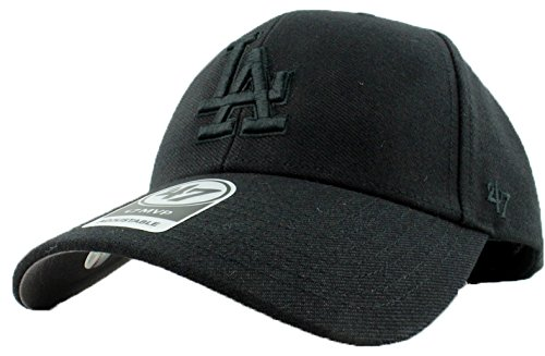 Los Angeles Dodgers Hat MLB Authentic '47 (Forty Seven) Brand MVP Adjustable Black on Black Baseball Cap Velcro Adult One Size Men & Women 85% Acrylic 15% Wool