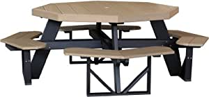 Outdoor Polywood Octagon Picnic Table - *TANGERINE/BLACK* Color