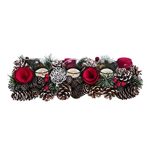 Rustic Pinecone and red berries Christmas Candle holder