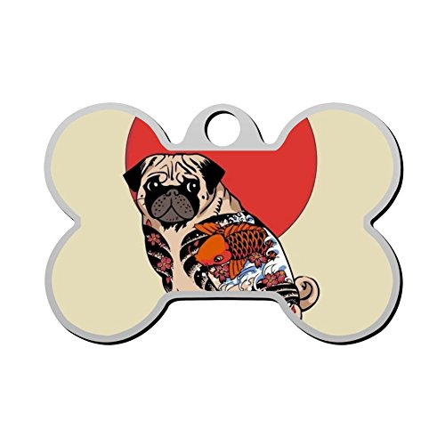 Ruffian Pug Tattoo Dog Tag Pet ID Tags Puppy Cat Bone Shaped Zinc Alloy Identity Pendant Customizable Trendy Prnaments Double Sided Printed