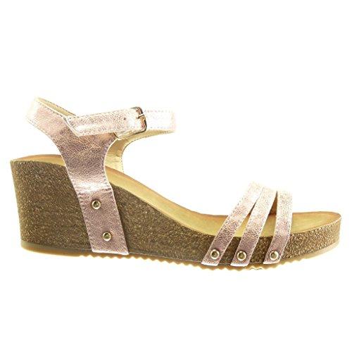 Angkorly - Chaussure Mode Sandale plateforme ouverte femme clouté liège brillant Talon compensé plateforme 6 CM - Champagne