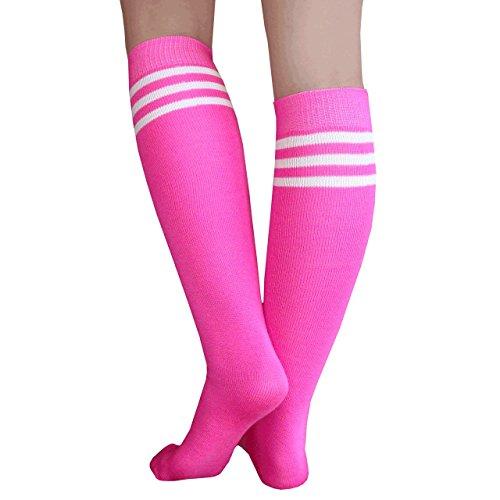 Chrissy's Socks Women's Knee High Tube Socks 7-11 Neon Pink -