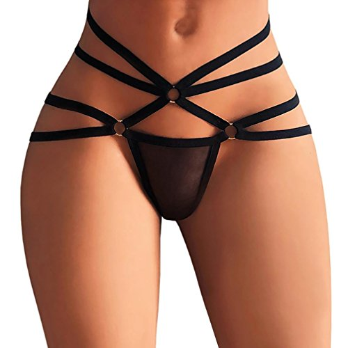 Nacome Women Sexy Strap Underwear Thongs Transparent Mesh G-Strings Panties (Black, L)