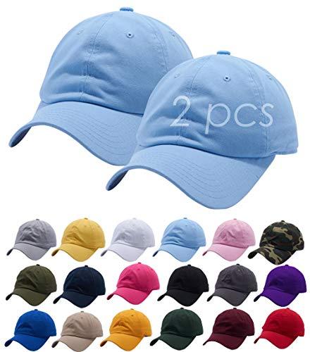 Set of 2, Sky Blue Cotton Dad Hat Cap Adjustable Baseball Cap Classic Plain Hat Men Women Unisex Ballcap 6 Panels Polo - Cotton Cap Sky Blue