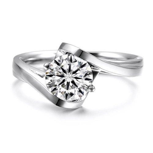 Gowe 1carat rond brillant Cut Solitare Bezel Lab Cultivées Charles De fiançailles en diamant véritable 14K 585Or jaune/blanc