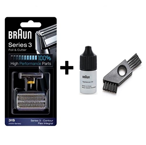 Braun 31S Replacement Foil and Cutter Cassette - 31S, Series 3, Contour, Flex Integral - 5000 Series with 7 ML Braun Cleaning oil and Cleaning Brush