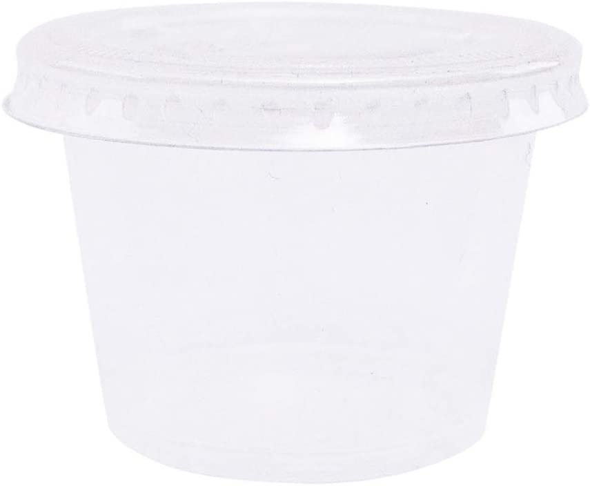 EDI Clear Disposable Plastic Portion Cups/Souffle Cups with Lids, 3.25 Ounce (100 Count)