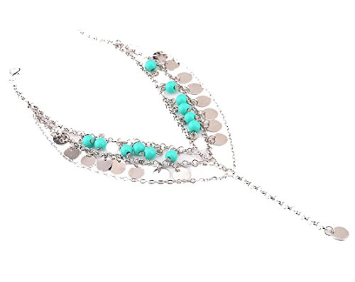 Kiss Queen Womens Barefoot Sandals Tassel Turquoise Chain Anklets Bracelet - Bell Sterling Silver Turquoise Ring