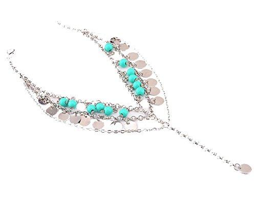 Kiss Queen Womens Barefoot Sandals Tassel Turquoise Chain Anklets Bracelet