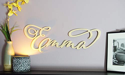 Custom Personalized Large Wooden First or Last Name Sign | Cursive Adorn Script Letters Hanging Plaque | Carved Wall Art Decor for Nursery or Kids Room 12-28 inch - Hanging Hardware Included