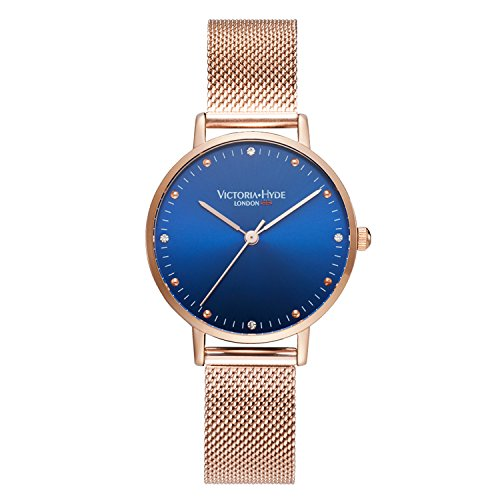 VICTORIA HYDE Womens Quartz Watches Blue Face Stainless Steel Bracelets Mesh Band Rose Gold for Lady