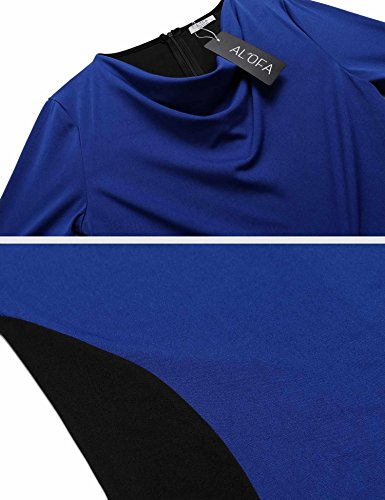 Dress Contrast Collar Cowel Pencil AL'OFA Casual Blue Work Royal XL Patchwork Women's q18txF