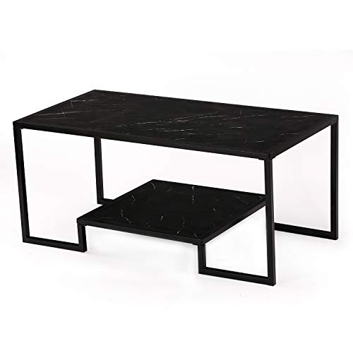Black Granite 40 Table - McNeil 40'' Marble Look 2-Tier Coffee Table Tea Snack Cocktail Sofa Side End Table TV Stand, Black & Black Granite