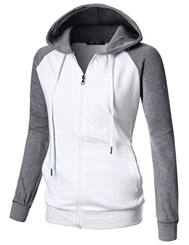 GIVON Womens Comfortable Long Sleeve Lightweight Raglan Zip-up Hoodie with Kanga Pocket/DCF018-DEEPGREY-XL