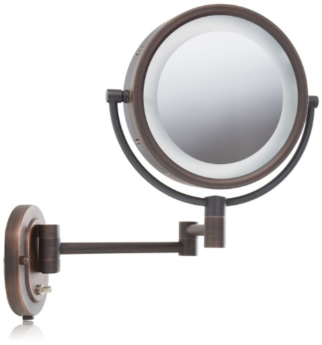 Jerdon HL65BZ 8-Inch Lighted Wall Mount Makeup Mirror with 5x Magnification, Bronze -