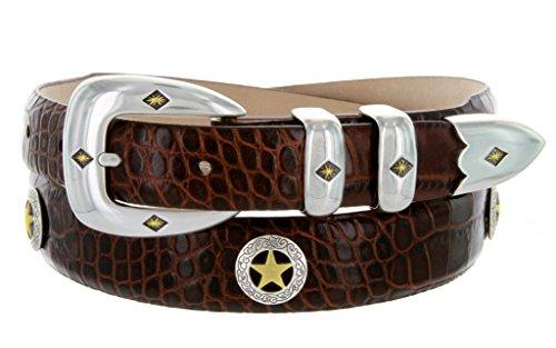 Presidential Gold Star Brown Dress Golf Belt (Alligator Brown, (Gold Concho Belt)