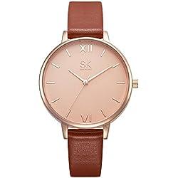 SK Women Watches Leather Band Luxury Quartz Watches Girls Ladies Wristwatch Relogio Feminino (Brown)