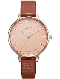Women Watches Leather Band Luxury Quartz Watches Girls Ladies Wristwatch Relogio Feminino (Brown)