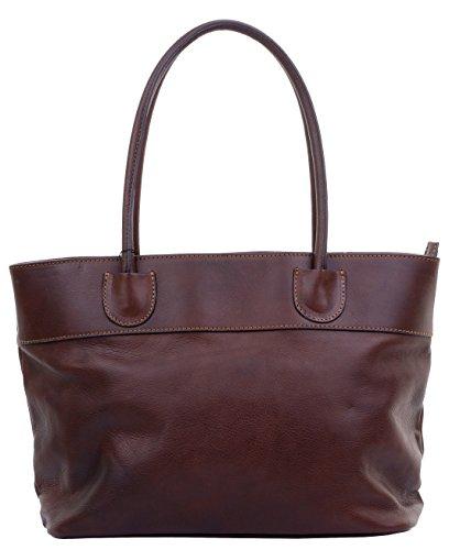 Dame di cuoio italiano di lusso grande manico lungo Tote Grab Bag o borsa a tracolla.Fornita nella pratica custodia protettiva marca Marrone scuro