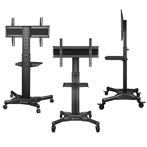 """ONKRON Mobile TV Stand with Mount Rolling TV Cart for 32"""" – 55"""" LCD LED Flat Screen TV with Wheels Shelves Height Adjustable TV Trolley (TS2551) by ONKRON (Image #1)"""