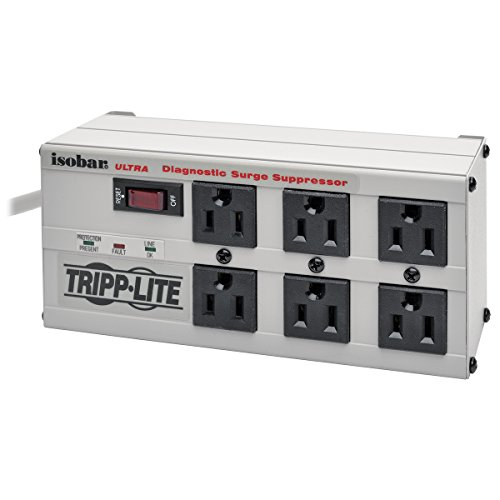 Tripp Lite Isobar 6 Outlet Surge Protector Power Strip, 6ft Cord, Right-Angle Plug, Metal, Lifetime Limited Warranty & $50,000 INSURANCE (ISOBAR6ULTRA)