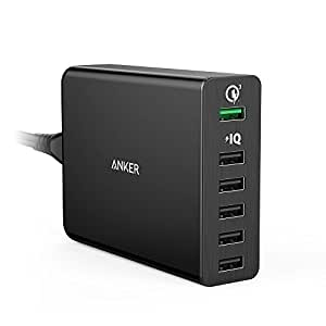 Anker Quick Charge 3.0 60W 6-Port USB Wall Charger, PowerPort+ 6 for Galaxy S7 / S6 / Edge / Plus, Note 5 / 4 and PowerIQ for iPhone 7 / 6s / Plus, iPad Pro / Air 2 / mini, LG, Nexus, HTC and More