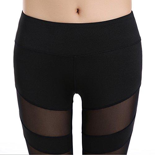 GOMNEAR Malla Yoga Pantalones Leggings De Cintura Alta Deportivo Correr Gimnasio Fitness Elásticos Basculantes Pantalones De Estiramiento Con Bolsillo De Cintura Black