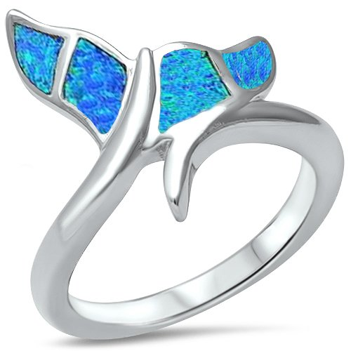 Lab Created Blue Opal Whale Tail .925 Sterling Silver Ring Size 5 ()