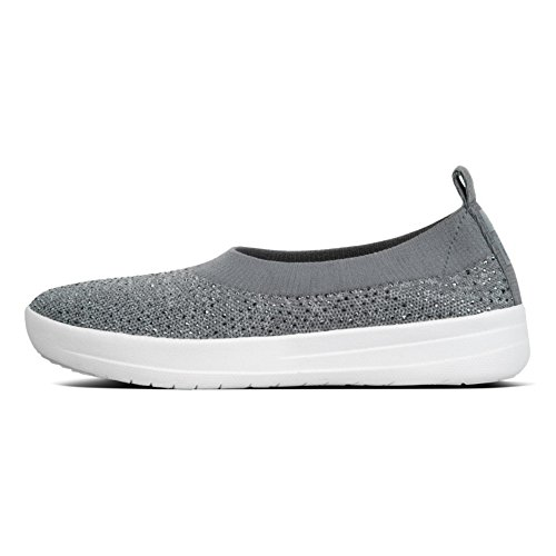 FitFlop Damen Uberknit Ballerina Walking Slip-On Kohle / Staubgrau