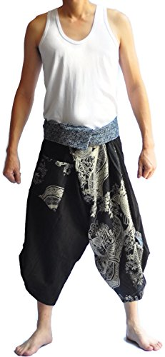 Aladdin Fine China (Siam Trendy Men's Japanese Style Pants One Size Brown two tone Fish design)
