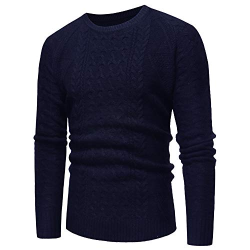 Maroon Gravy Boat - WUYIMC Men's Knitted Casual O-Neck Long Sleeve Loose Winter Warm Pullover Sweater Tops