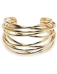 Metal Fashion Wire Cuff Bangle Bracelet for Girls Women, Gold