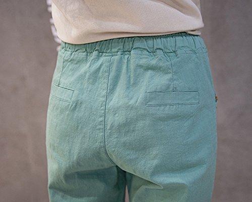 Plage Lache Dcontracts Femme Pantalon de Confortable Vert Couleur Unie Pantalons 8qnPIPtwxr