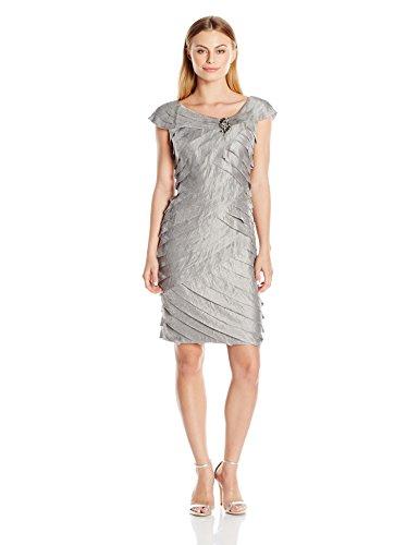 London Times Women's Petite Sheath Dress w. Broach Detail & Portrait Collar, Platinum 8P