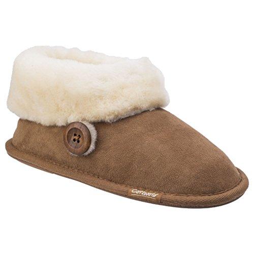 Premium ladies Cotswold Womens Bootie Marrón Warm Slippers Wotton Sheepskin rrX6q5