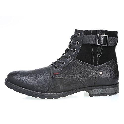 ec uomo scarpe Nero vintage y30 scarponcino MForshop stivaletto stringato pelle lacci B1SwO